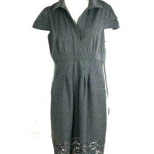BCBGMaxAzria L Gray Shirt Dress Cap Sleeve Collar